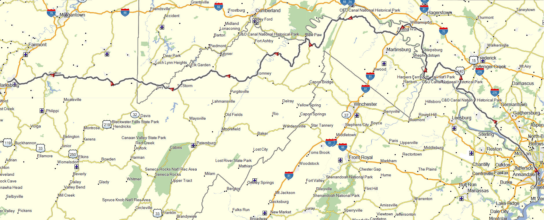 Alexandria To Clarksburg Don Moes Travel Website - Alexandria usa map