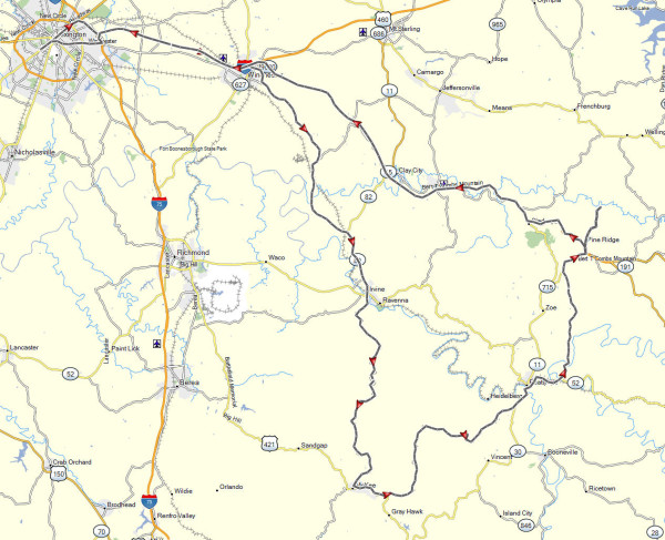 Our route on the Red River Gorge day ride.