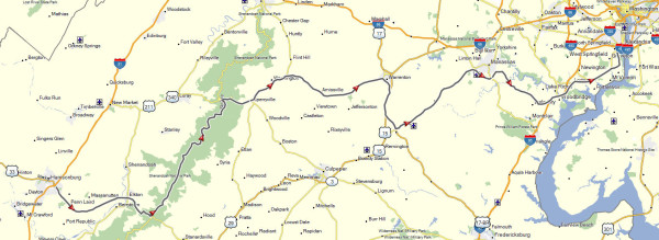 My route from Harrisonburg, VA to Alexandria, VA