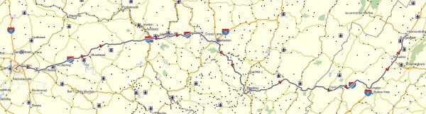 My route from Lexington, KY to Harrisonburg, VA