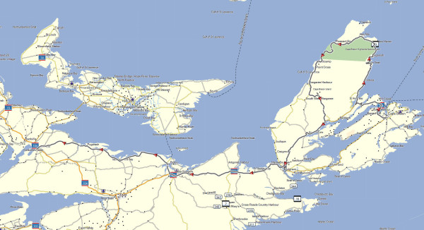 My route from Sydney to Amherst via Cape Breton Highlands National Park