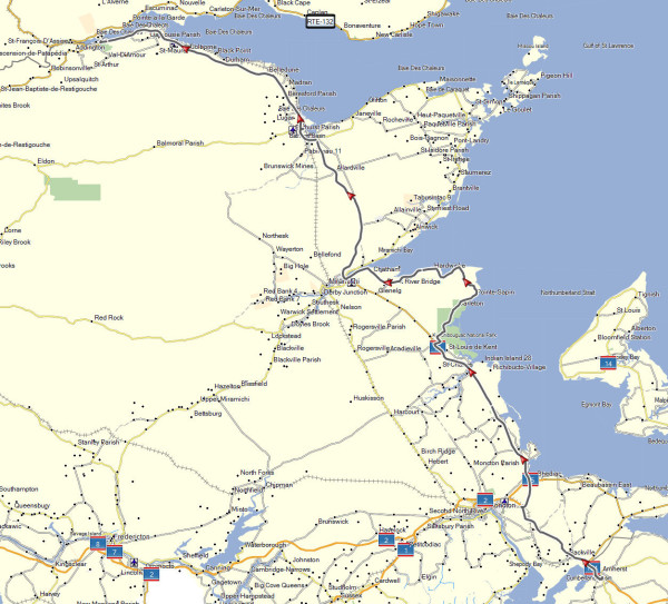 My route from Amherst, NS to Campbellton, NB