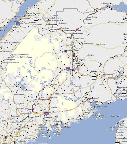 My route from Campbellton, NB to Augusta, ME