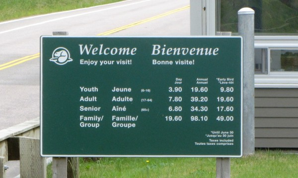 Prices for entrance to the national park