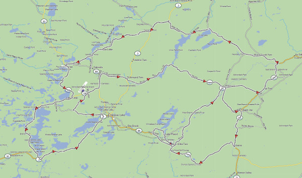 My route for the day ride around Lake Placid