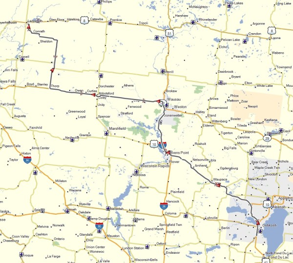 My route from Ladysmith to Oshkosh and return
