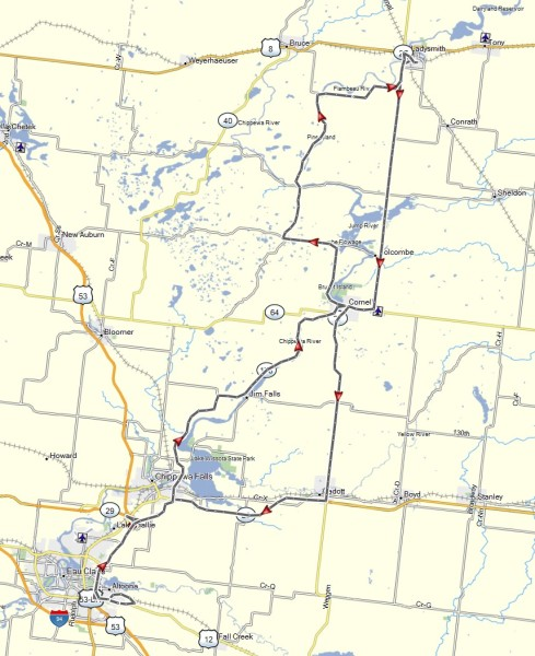 My route from Ladysmith to Sport Rider in Altoona, WI and return