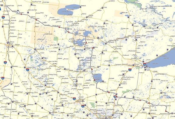 My route from Ladysmith, WI to Grand Forks, ND