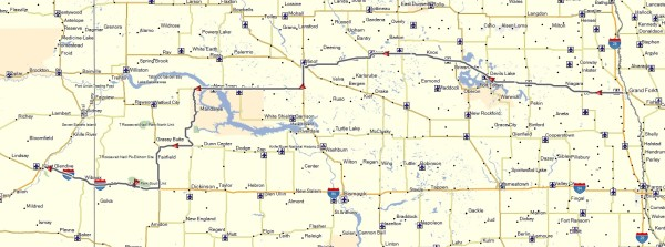 My route across North Dakota from Grand Forks to Glendive, Montana