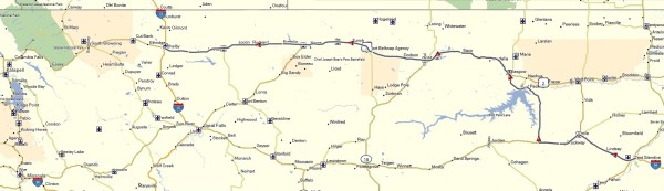The route across Montana that Brad Larson and I followed to Shelby