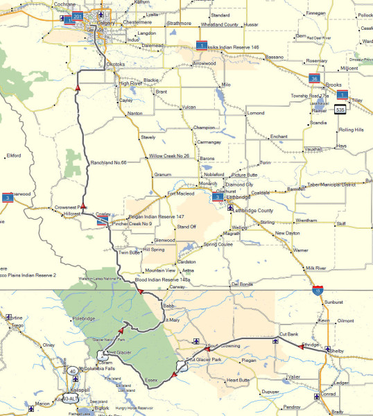 My route from Shelby, MT to Calgary, AB via Glacier National Park