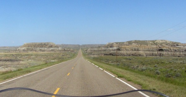View northward along Hwy-24 along east side of Fort Peck Lake