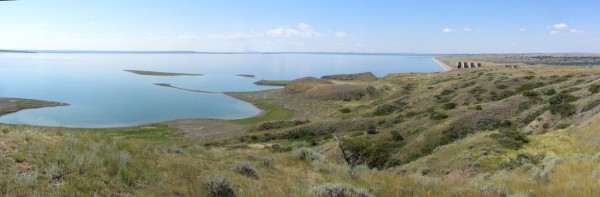 Panoramic view of Fort Peck Lake