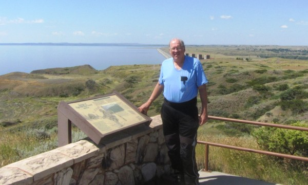 Posing for a photo at overlook at Fort Peck Lake