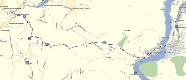 My route from Kelowna to Merritt, BC