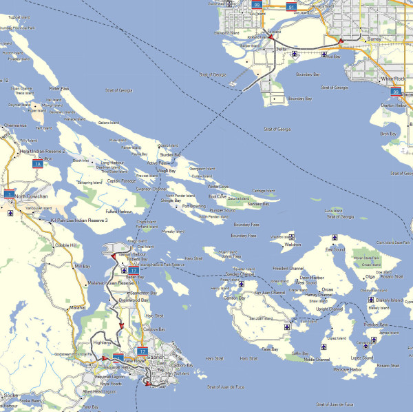 My route from the Surrey suburb of Vancouver, BC to Vancouver Island
