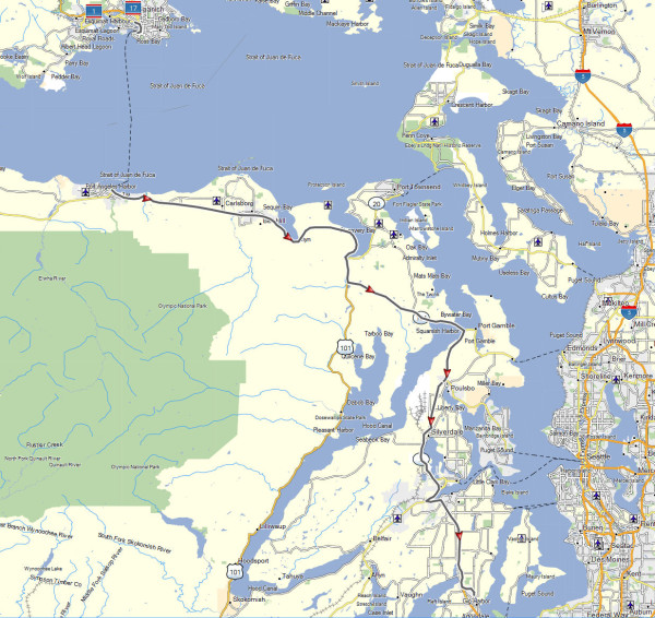 My route from Victoria, BC to Gig Harbor, WA