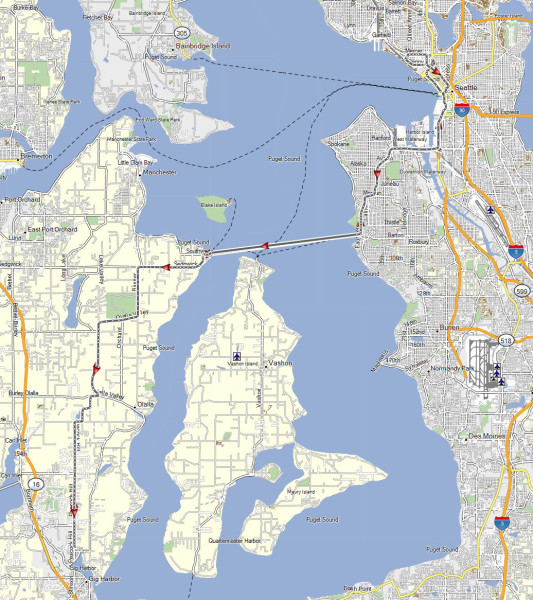 My route from Gig Harbor to near the Hempfest venue