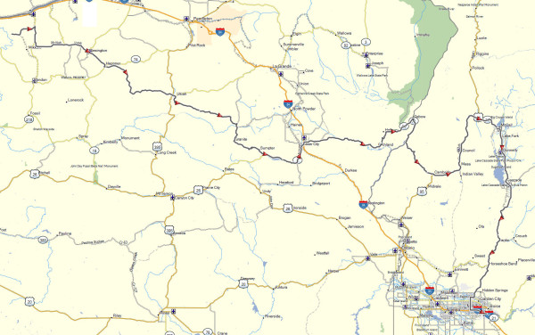 My route from near Arlington, OR to Boise, ID
