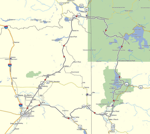 Our route from Idaho Falls to Yellowstone Park and return