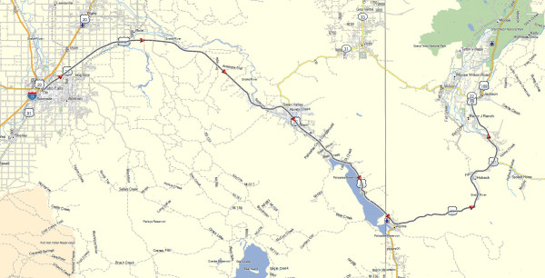 My route from Idaho Falls, ID to Jackson, WY