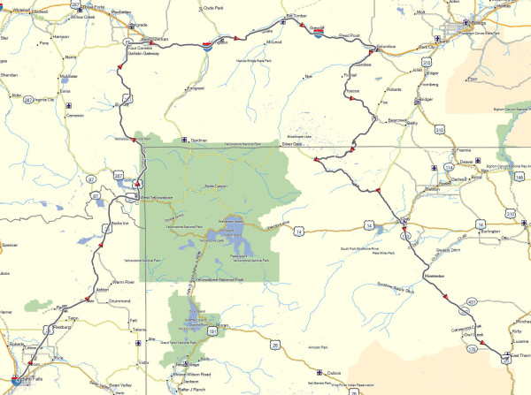 My route from Idaho Falls, ID to Thermopolis, WY
