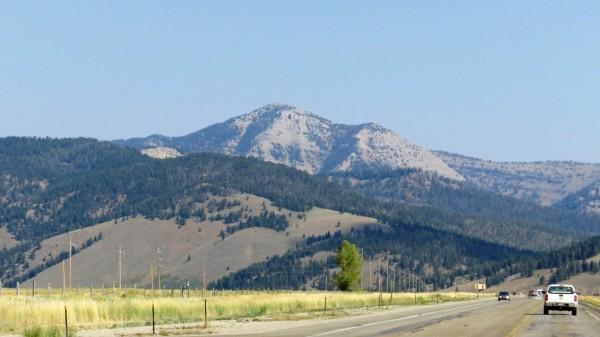 View along US-20 towards Bald Peak