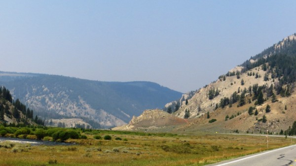 View towards the north along US-191 after leaving Yellowstone Park boundary