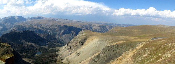 Panoramic photo of the view to the west from Beartooth Scenic Hwy
