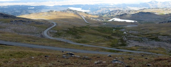 View of the road ahead with several switchbacks