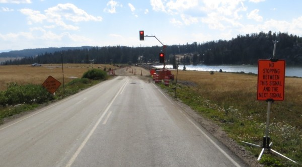 Stopped for road construction zone next to Long Lake