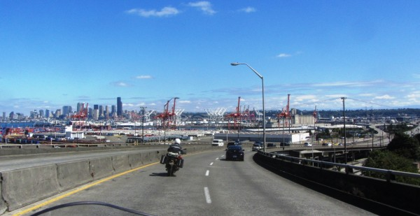 Approaching the Seattle container terminal