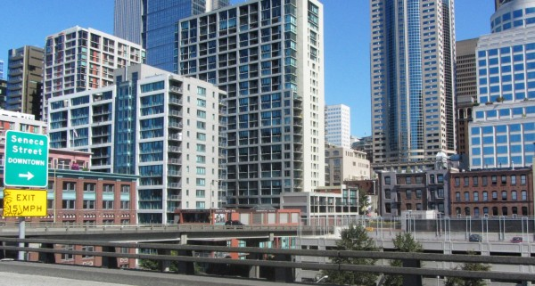 View towards the Seattle business district adjacent to the Alaskan Way Viaduct