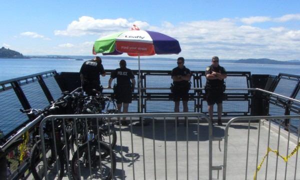 Seattle police officers provided security for the event.
