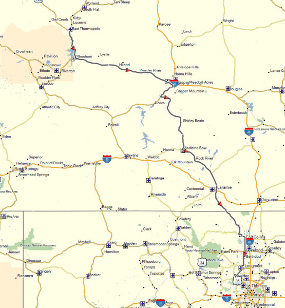 My route from Thermopolis, WY to Boulder, CO