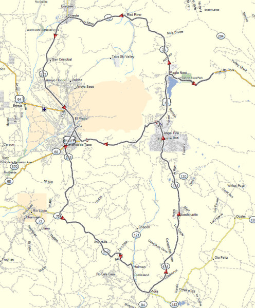Our route on the day ride to the east of Taos, NM