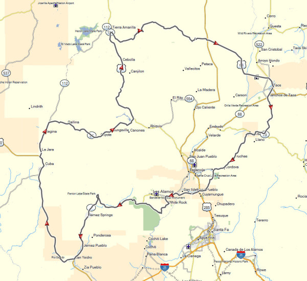 My route for the day ride from Taos past Los Alamos through Cuba and back to Taos