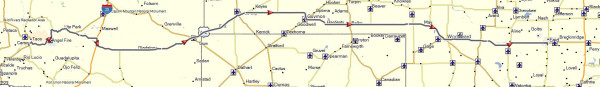 My route from Taos, NM to Enid, OK