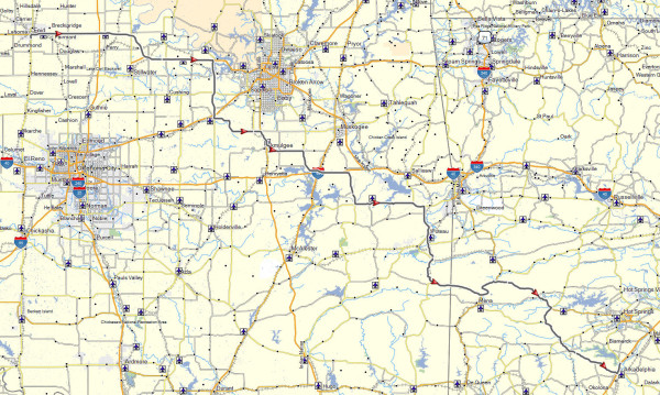 My route from Enid, OK to Arkadelphia, AR