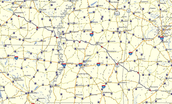 My route from Arkadelphia, AR to Evergreen, AL