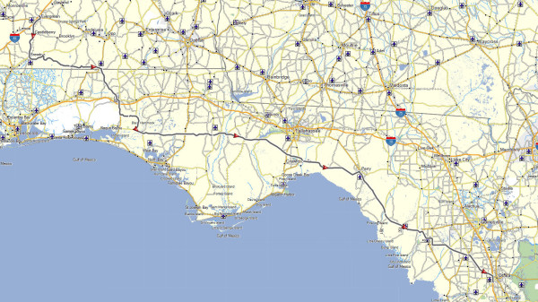 My route from Evergreen, AL to Ocala, FL