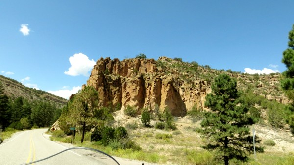 About three miles from Bandelier National Monument