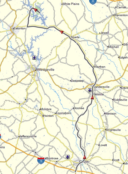 My route from Dublin, GA to my step-sister's home at Reynolds Plantation, near Greenville, GA