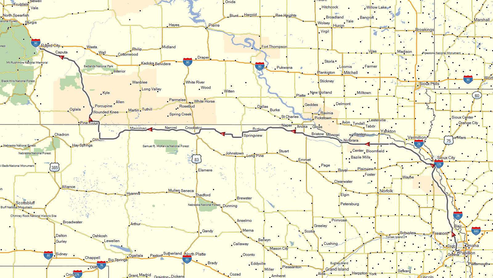 my route from omaha ne to rapid city sd