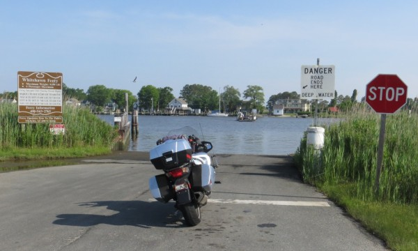 My motorcycle waits for the ferry to arrive