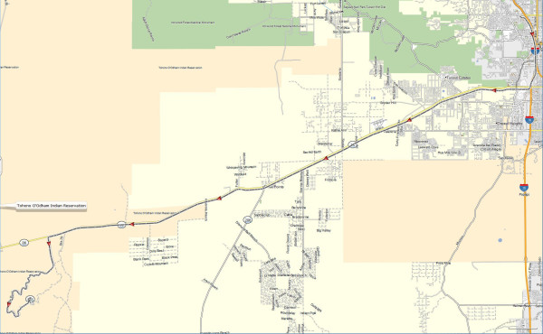 My route from Tucson to the Kitt Peak National Observatory