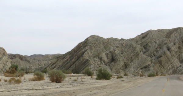 Geologic formations along Box Canyon Road just east of Mecca