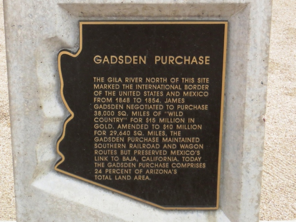 Historical plaque about the Gadsen Purchase of Mexican territory