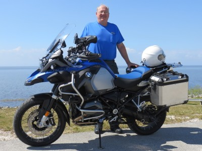Standing with my new BMW R1200GSA overlooking Lake Okeechobee at Port Mayaca.