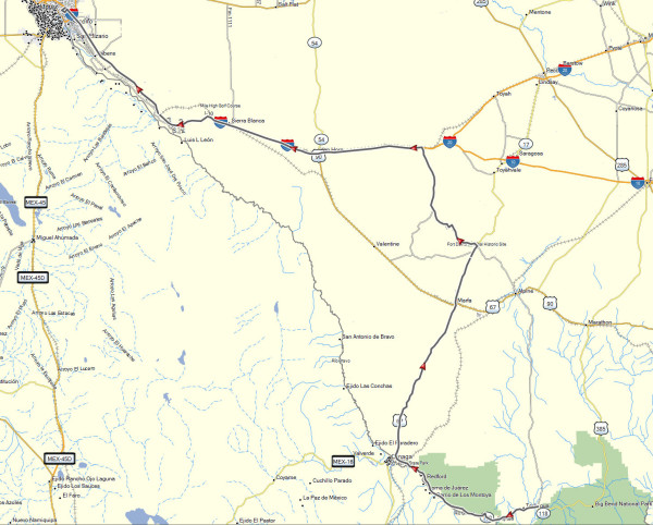 My route from Terlingua, TX to El Paso, TX